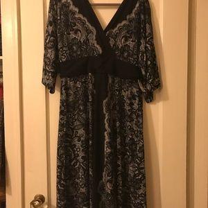 Lane Bryant 14/16 Black Floral Kimono Dress